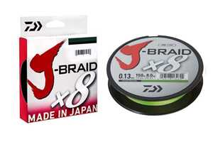 Bild på Daiwa J-Braid X8 Chartreuse 150m 0,22mm (17kg)